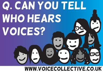 Postcard - Can you tell who hears voices? Front